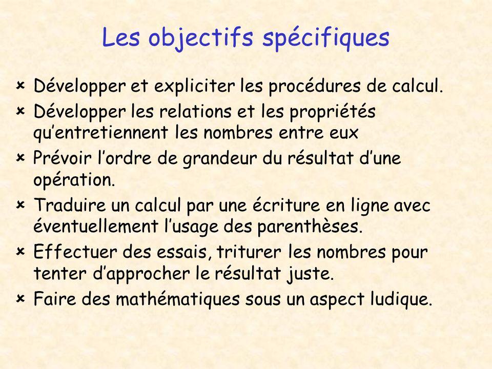 Les objectifs spécifiques
