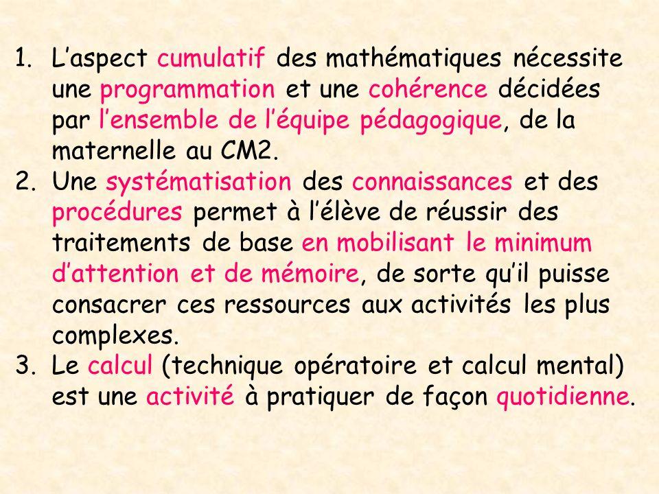 L'aspect cumulatif des mathématiques nécessite une programmation et une cohérence décidées par l'ensemble de l'équipe pédagogique, de la maternelle au CM2.