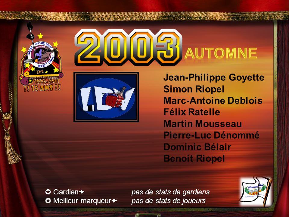 Automne Jean-Philippe Goyette Simon Riopel Marc-Antoine Deblois