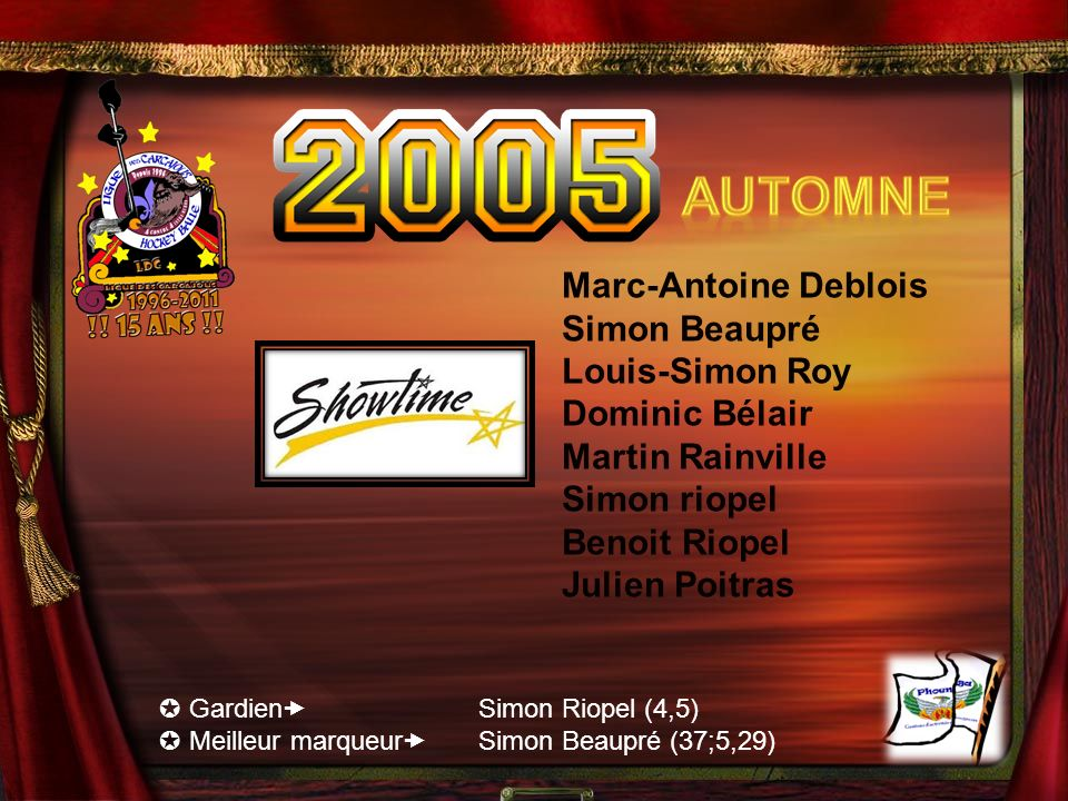 Automne Marc-Antoine Deblois Simon Beaupré Louis-Simon Roy