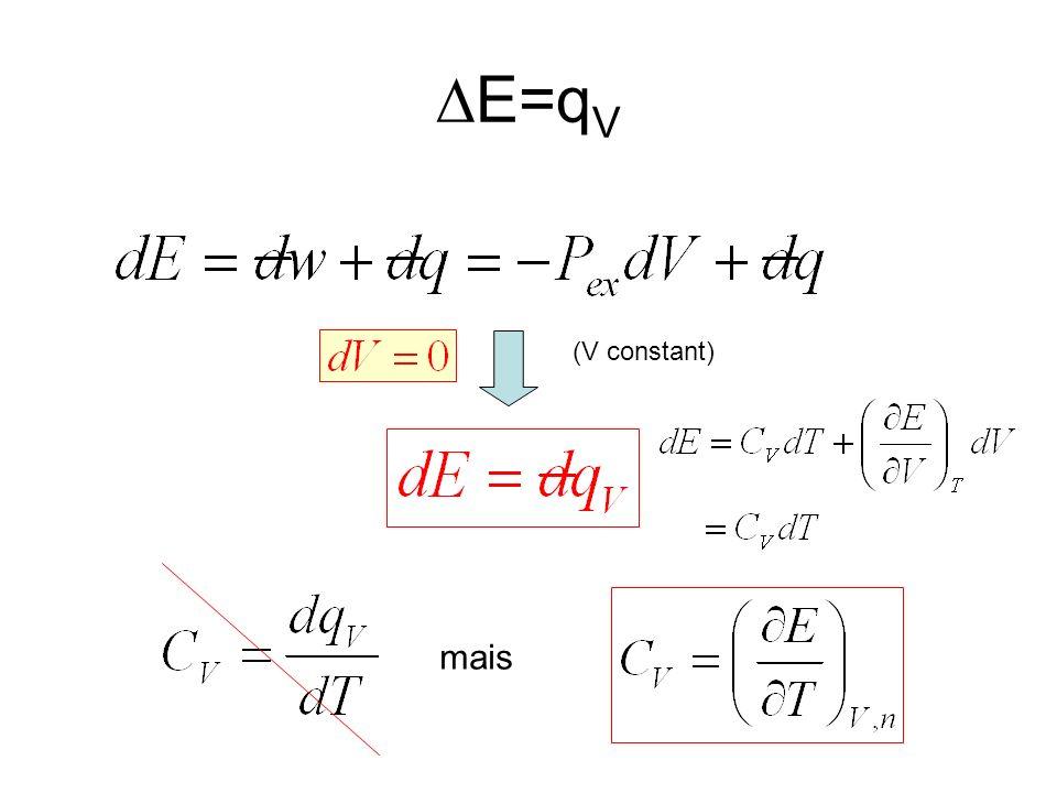 DE=qV (V constant) mais