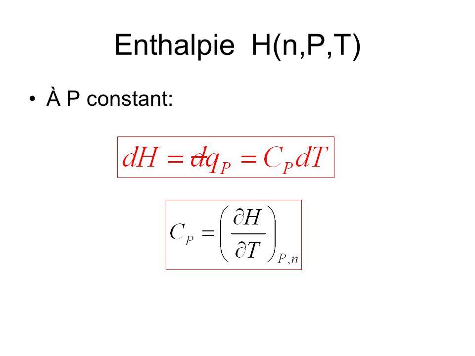 Enthalpie H(n,P,T) À P constant: