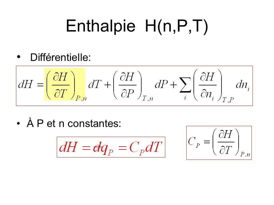 Enthalpie H(n,P,T) Différentielle: À P et n constantes: