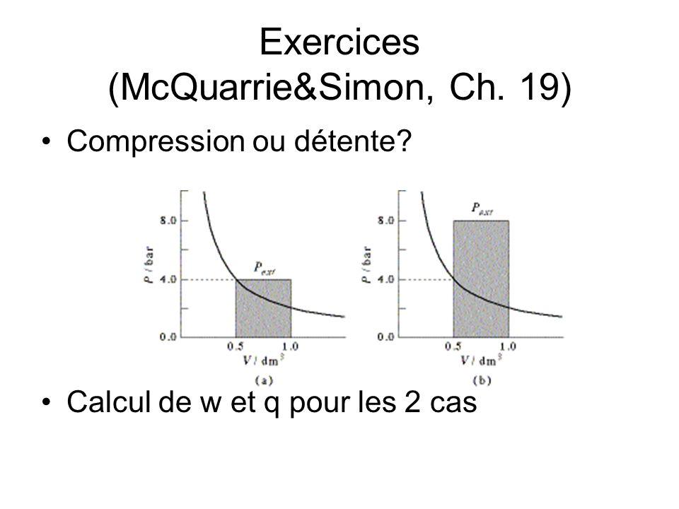 Exercices (McQuarrie&Simon, Ch. 19)