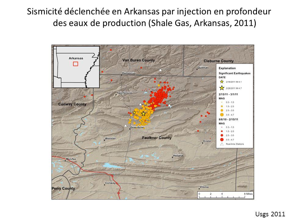 Sismicité déclenchée en Arkansas par injection en profondeur des eaux de production (Shale Gas, Arkansas, 2011)