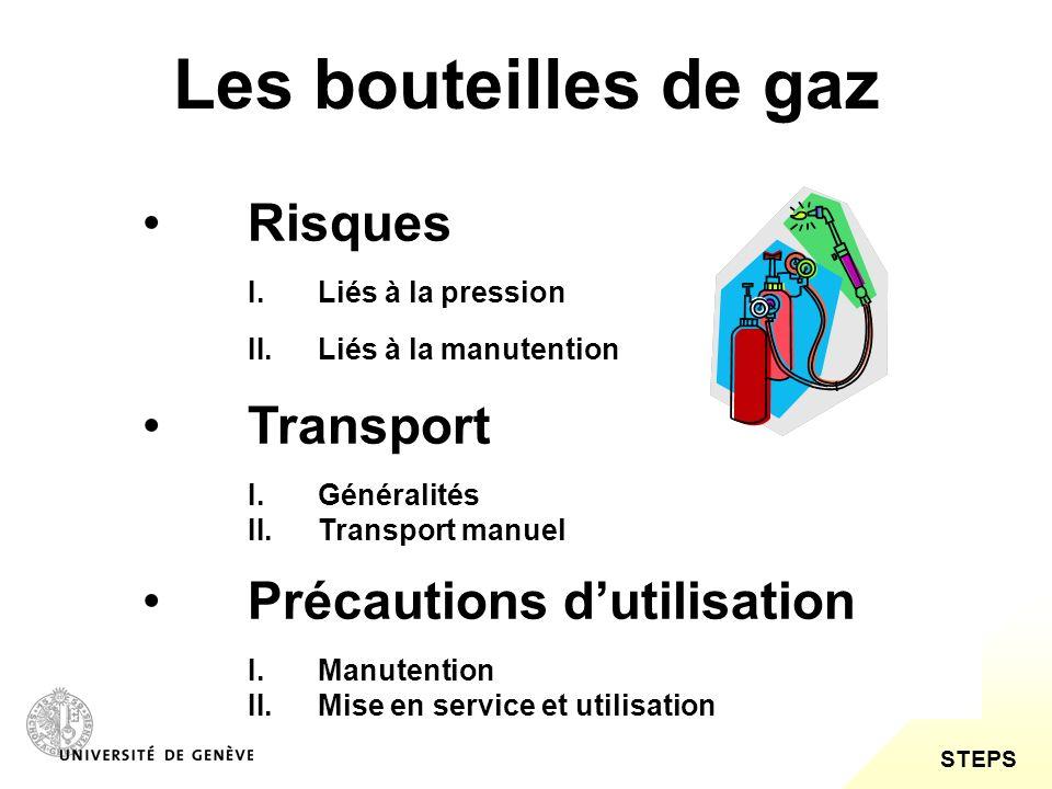 Les bouteilles de gaz Risques Transport Précautions d'utilisation