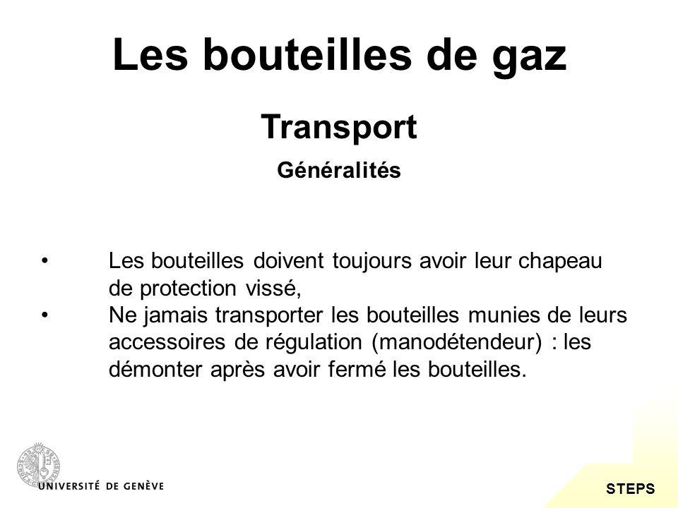 Les bouteilles de gaz Transport Généralités
