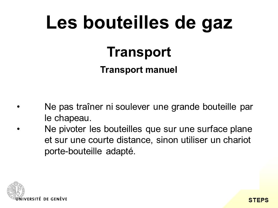 Les bouteilles de gaz Transport Transport manuel
