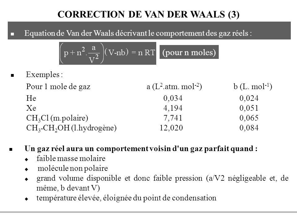 CORRECTION DE VAN DER WAALS (3)