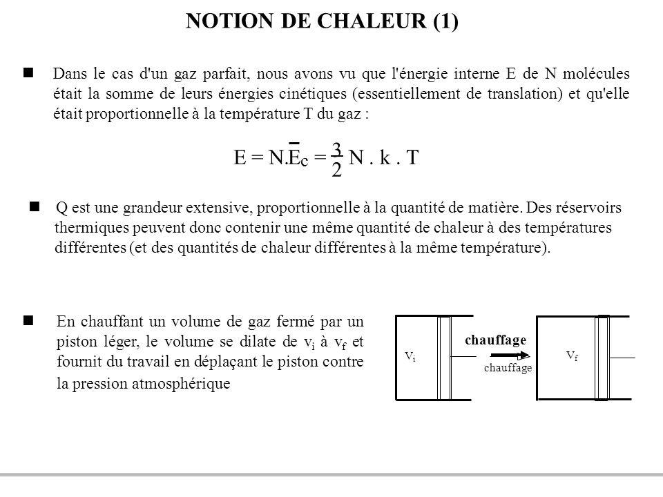 NOTION DE CHALEUR (1) E = N. E = 3 2 N . k . T c W = - P ( V - )