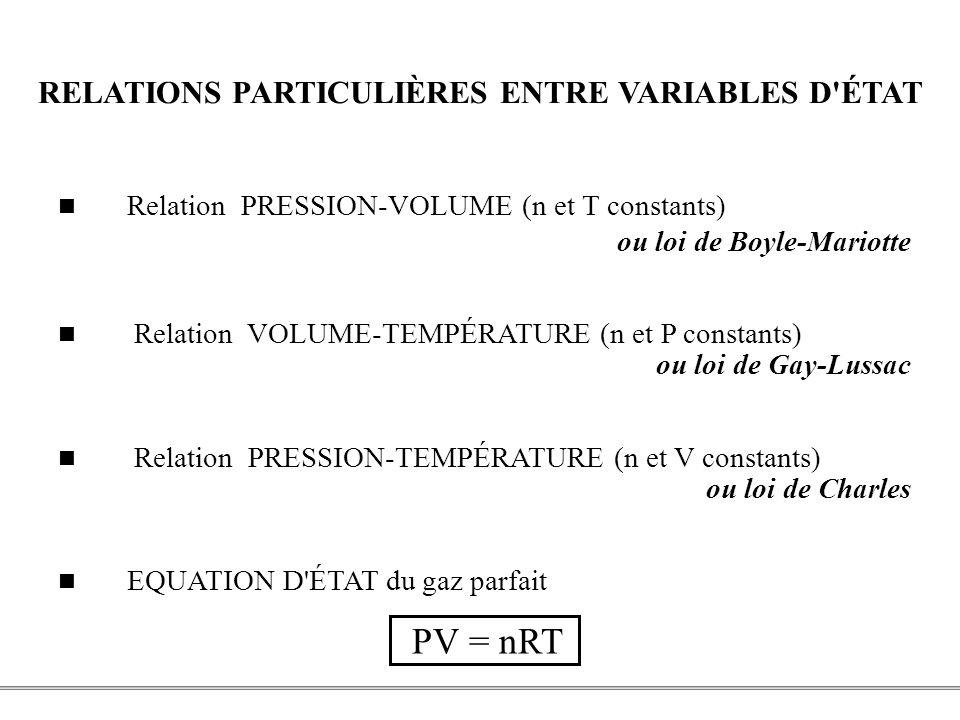 RELATIONS PARTICULIÈRES ENTRE VARIABLES D ÉTAT