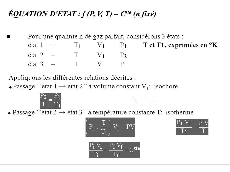 ÉQUATION D ÉTAT : f (P, V, T) = Cste (n fixé)