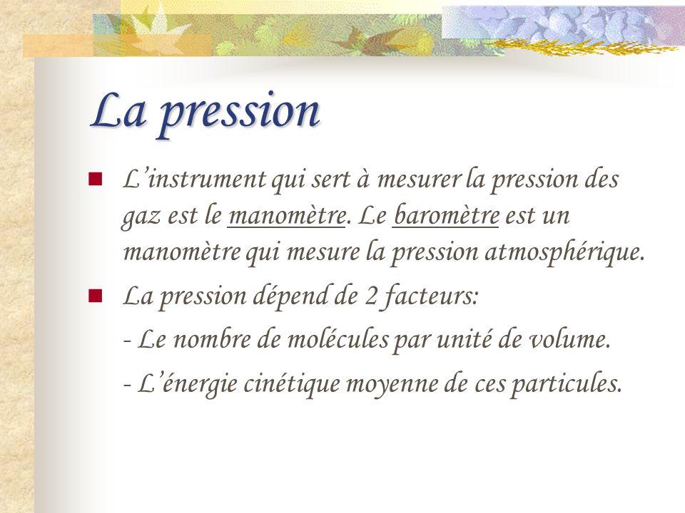 La pression L'instrument qui sert à mesurer la pression des gaz est le manomètre. Le baromètre est un manomètre qui mesure la pression atmosphérique.