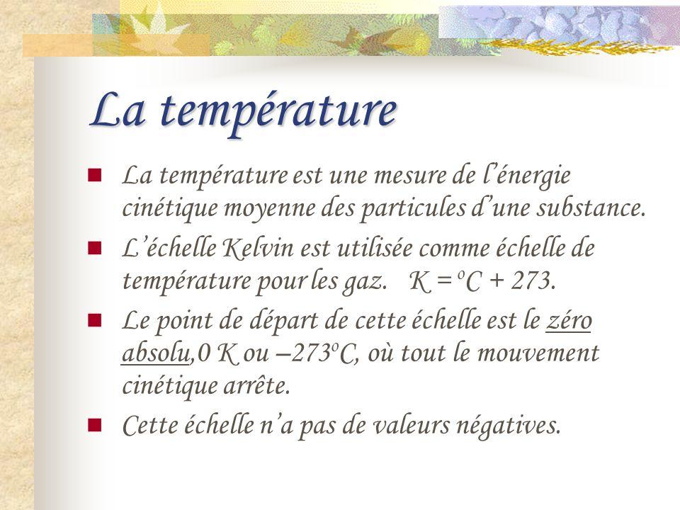 La température La température est une mesure de l'énergie cinétique moyenne des particules d'une substance.