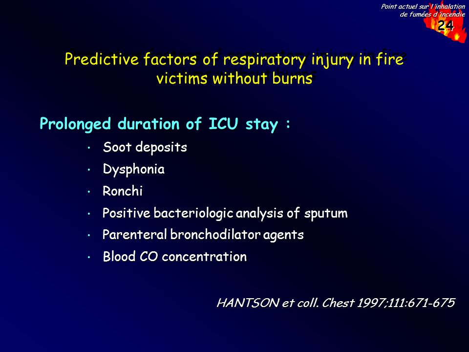 Predictive factors of respiratory injury in fire victims without burns