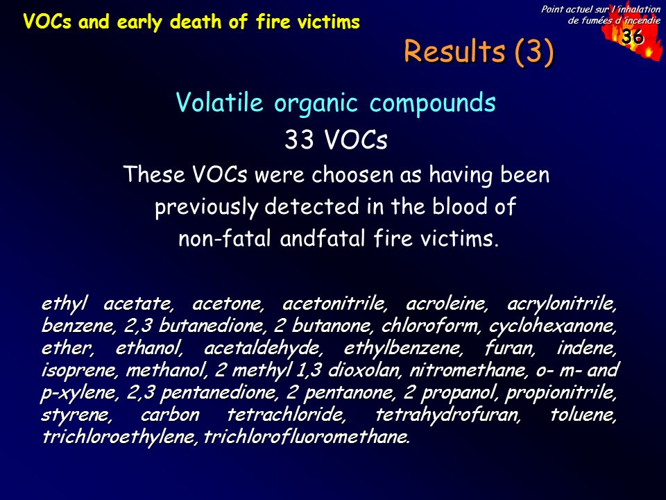 Results (3) Volatile organic compounds 33 VOCs