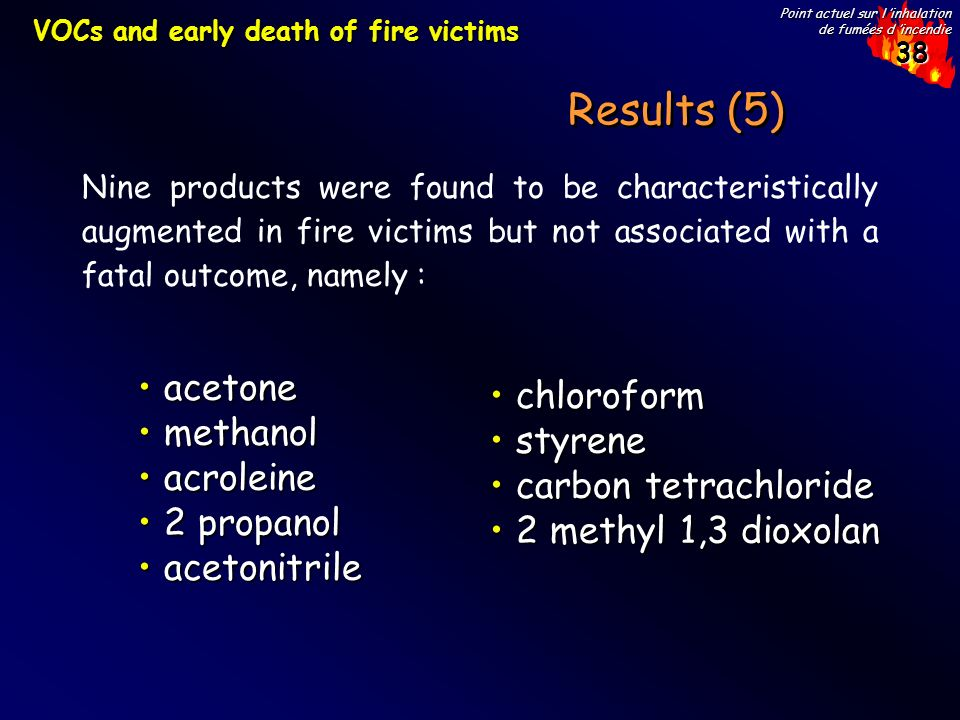 Results (5) acetone chloroform methanol styrene acroleine