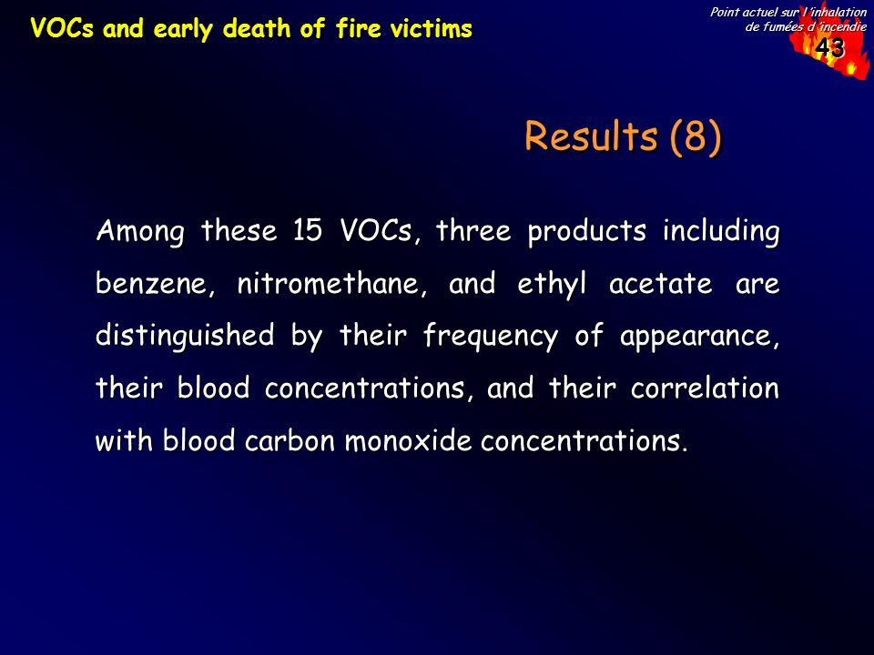VOCs and early death of fire victims