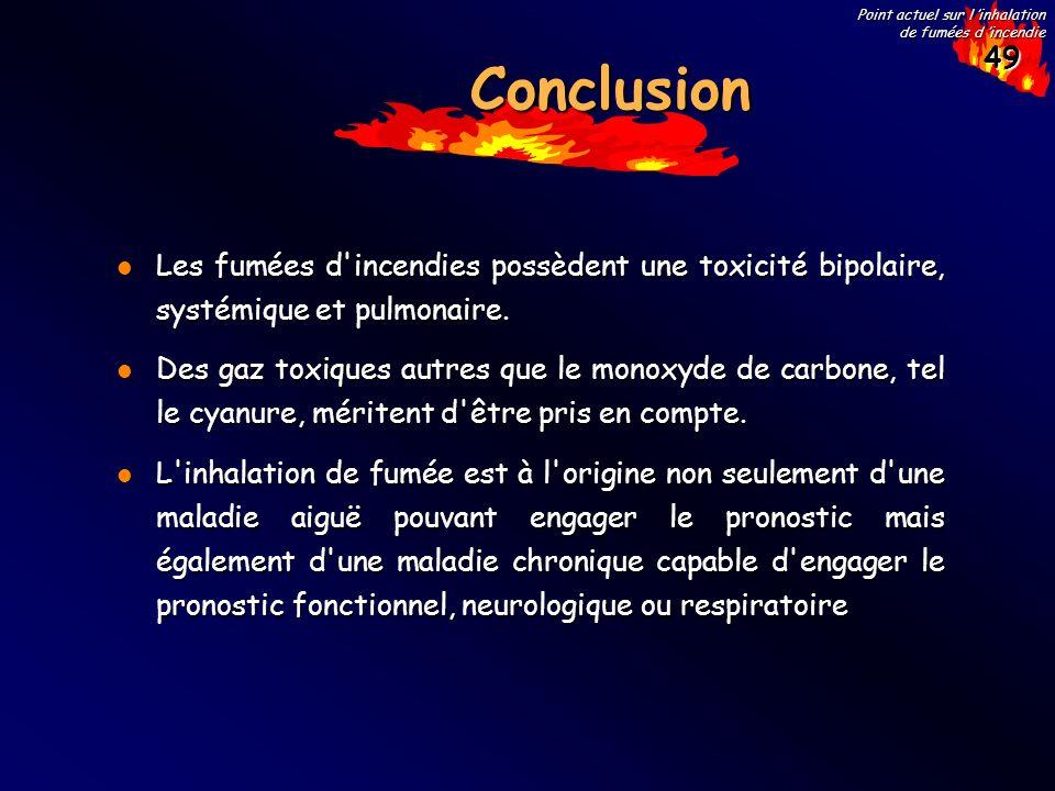 Conclusion Les fumées d incendies possèdent une toxicité bipolaire, systémique et pulmonaire.