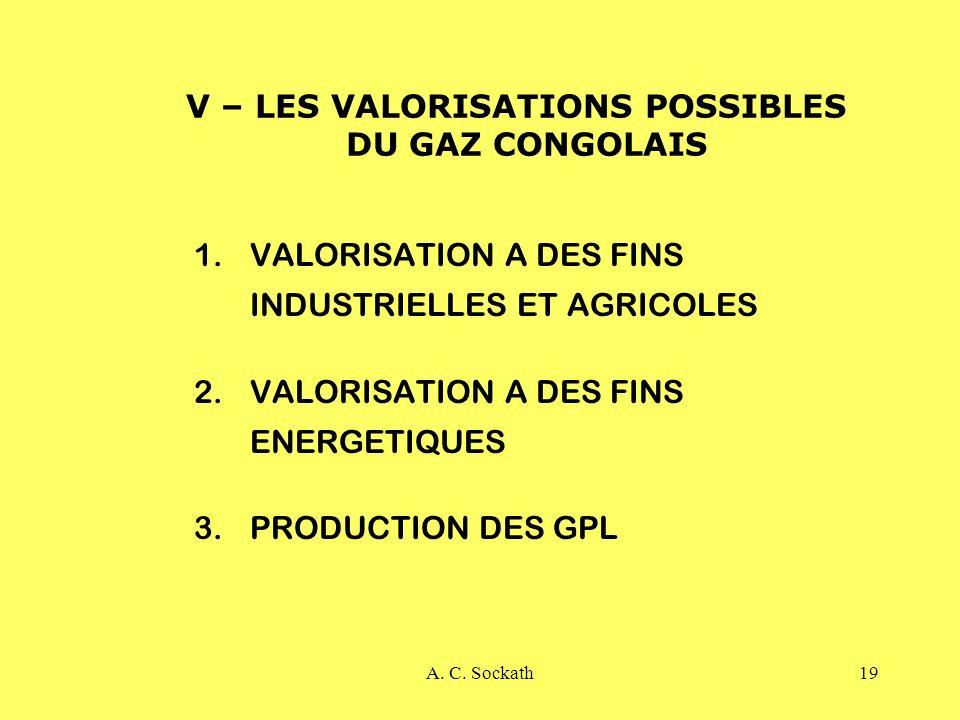 V – LES VALORISATIONS POSSIBLES DU GAZ CONGOLAIS