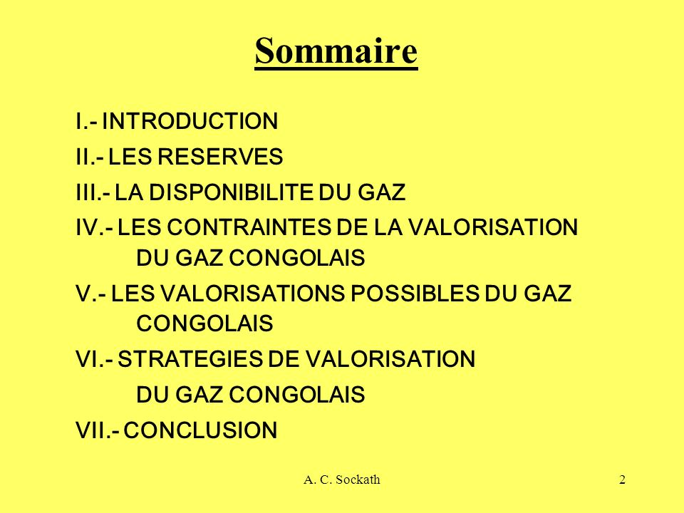Sommaire I.- INTRODUCTION II.- LES RESERVES
