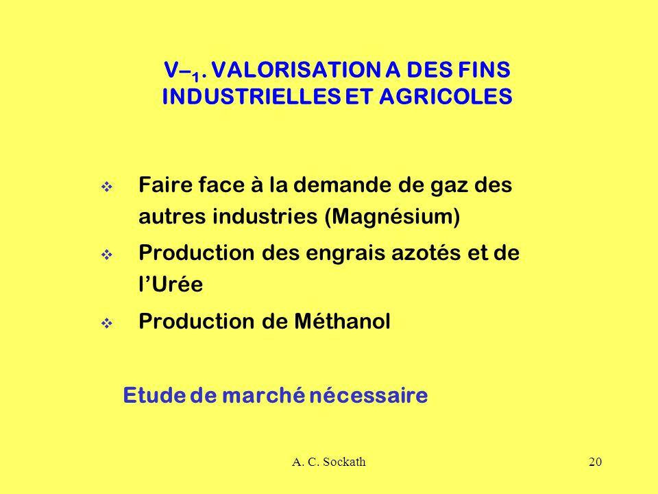 V–1. VALORISATION A DES FINS INDUSTRIELLES ET AGRICOLES
