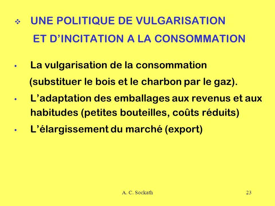 UNE POLITIQUE DE VULGARISATION ET D'INCITATION A LA CONSOMMATION