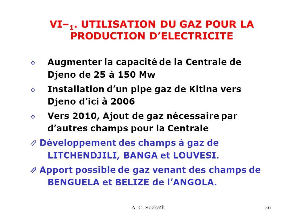VI–1. UTILISATION DU GAZ POUR LA PRODUCTION D'ELECTRICITE