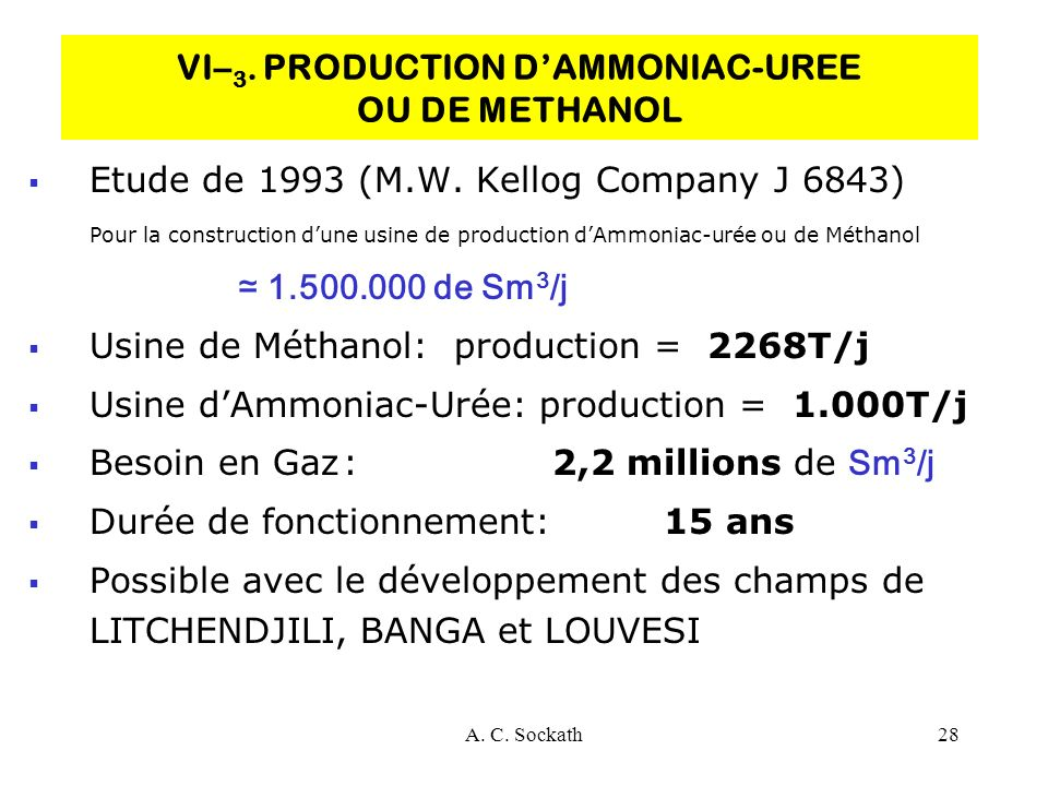 VI–3. PRODUCTION D'AMMONIAC-UREE OU DE METHANOL