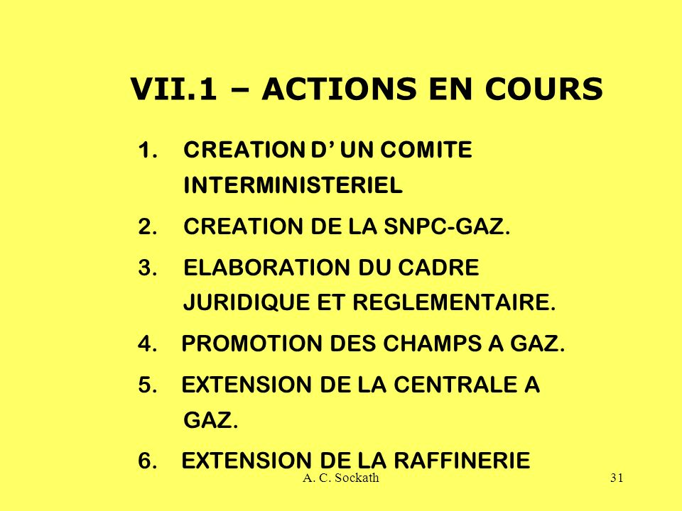 VII.1 – ACTIONS EN COURS CREATION D' UN COMITE INTERMINISTERIEL