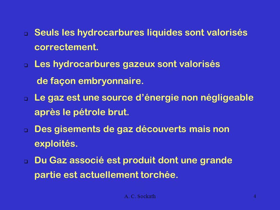 Seuls les hydrocarbures liquides sont valorisés correctement.