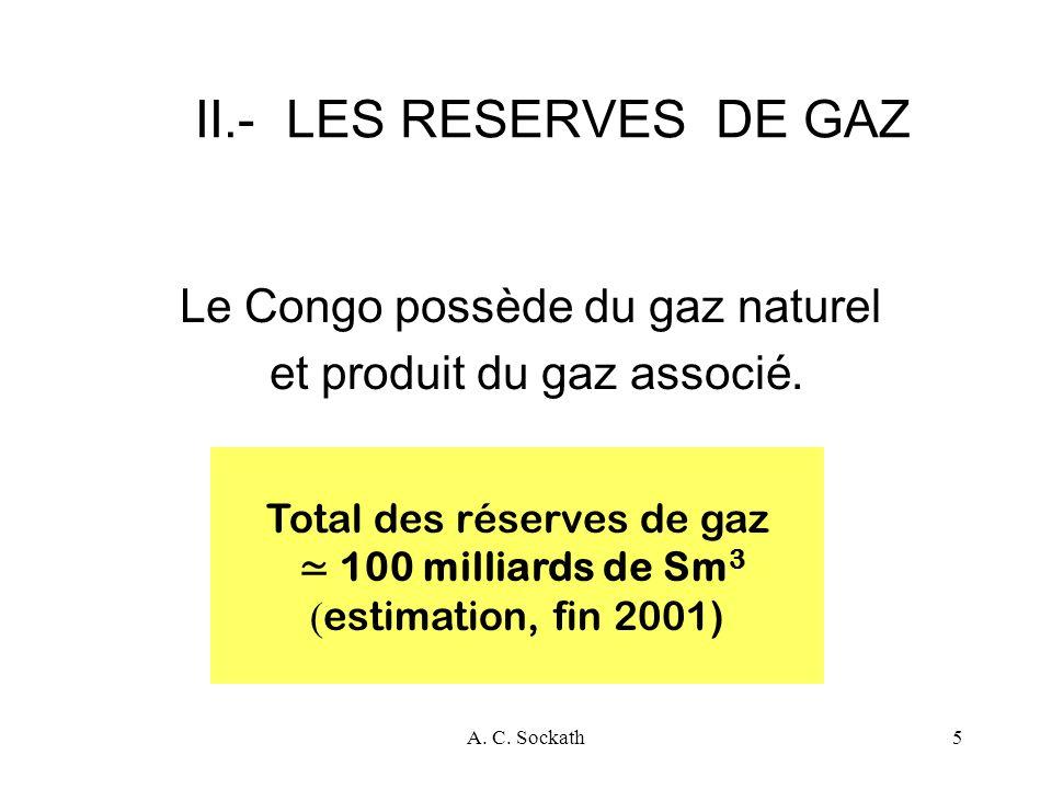 II.- LES RESERVES DE GAZ Le Congo possède du gaz naturel