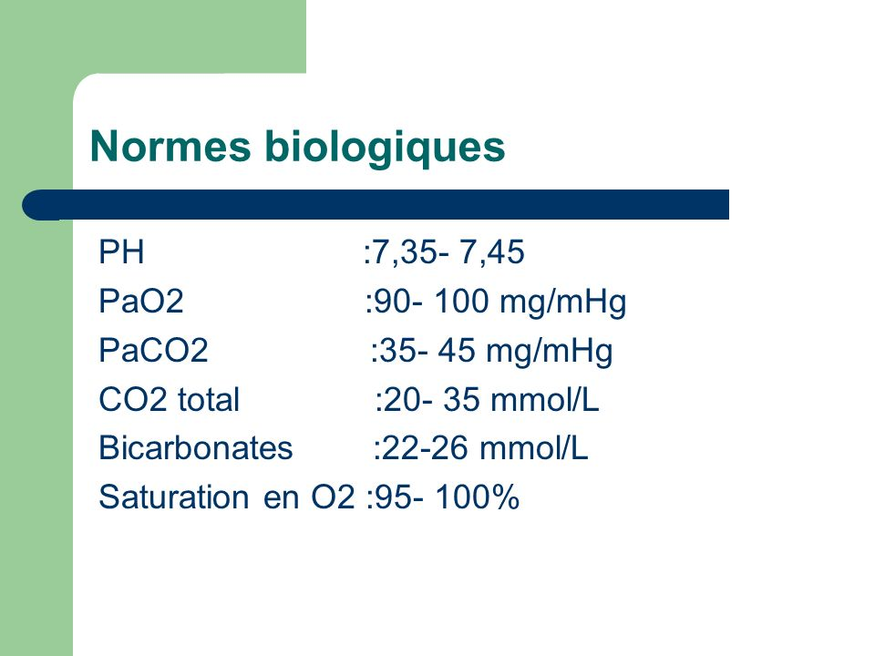 Normes biologiques PH :7,35- 7,45 PaO2 :90- 100 mg/mHg
