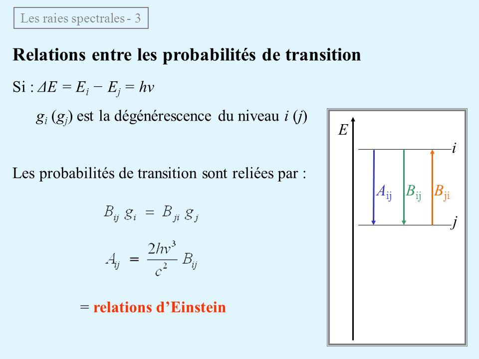 Relations entre les probabilités de transition