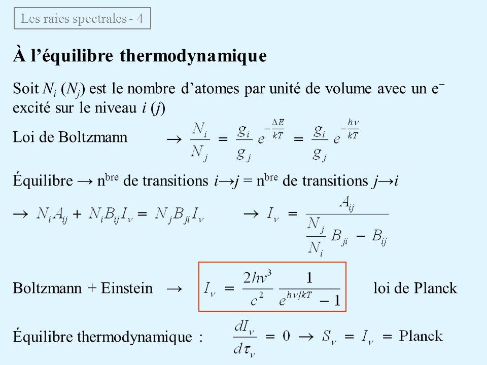 À l'équilibre thermodynamique