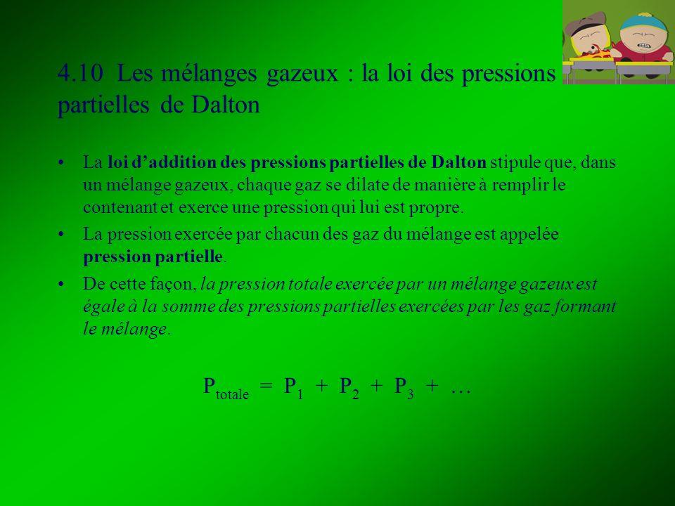 4.10 Les mélanges gazeux : la loi des pressions partielles de Dalton