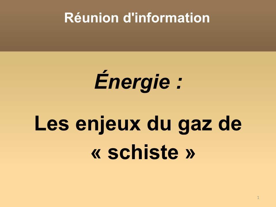 Énergie : Les enjeux du gaz de « schiste »