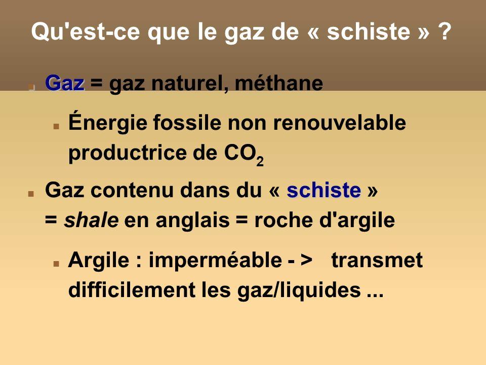 Qu est-ce que le gaz de « schiste »