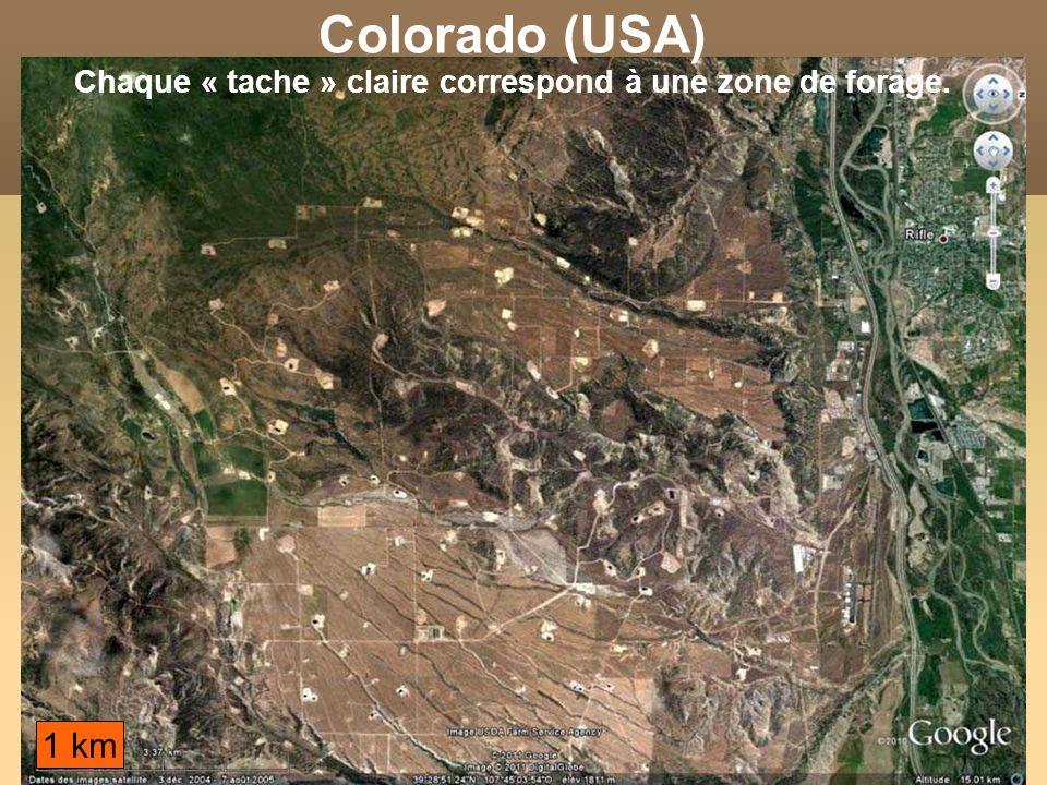 Colorado (USA) Chaque « tache » claire correspond à une zone de forage.