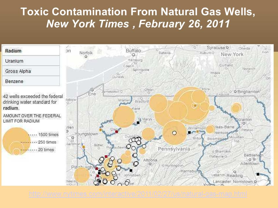 Toxic Contamination From Natural Gas Wells, New York Times , February 26, 2011