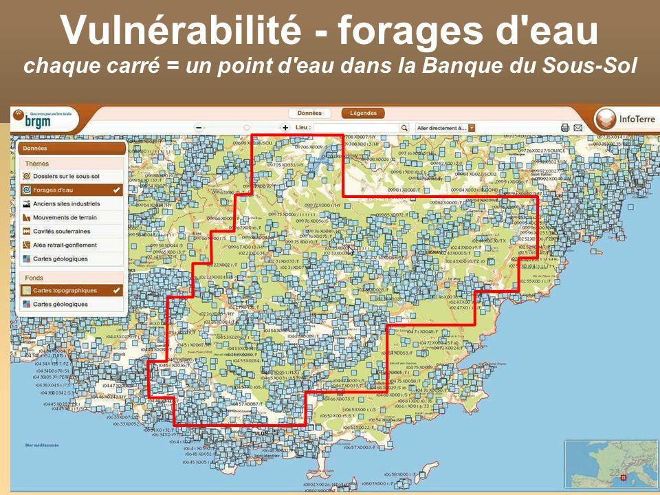 Vulnérabilité - forages d eau chaque carré = un point d eau dans la Banque du Sous-Sol