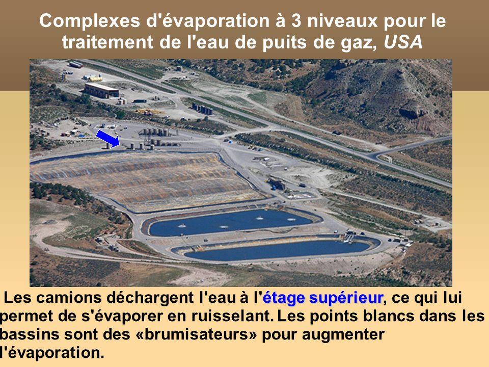 Complexes d évaporation à 3 niveaux pour le traitement de l eau de puits de gaz, USA