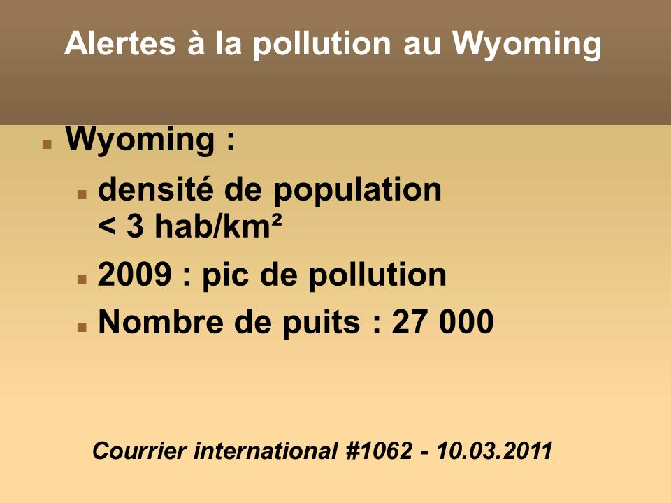 Alertes à la pollution au Wyoming