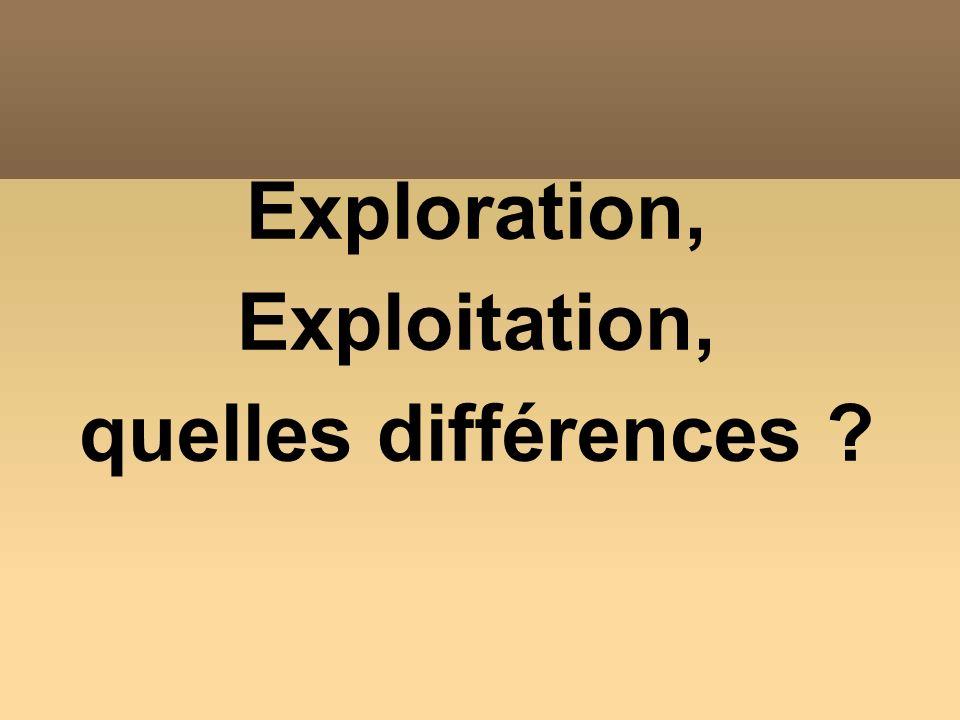 Exploration, Exploitation, quelles différences