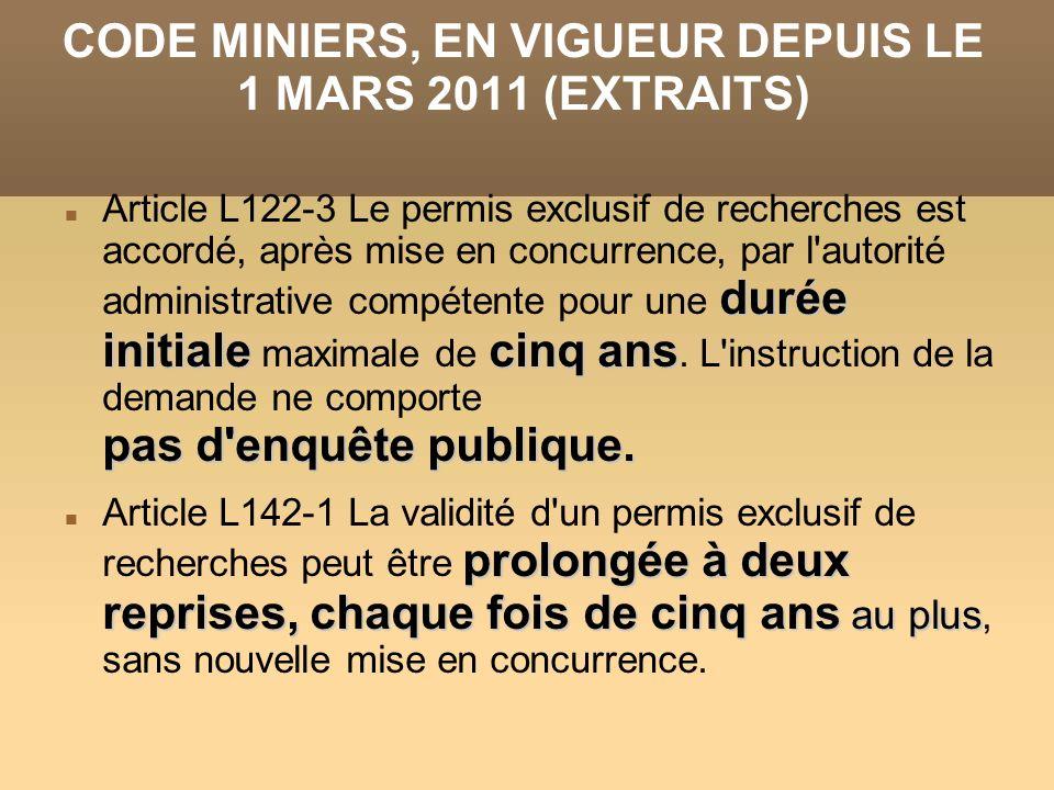 CODE MINIERS, EN VIGUEUR DEPUIS LE 1 MARS 2011 (EXTRAITS)
