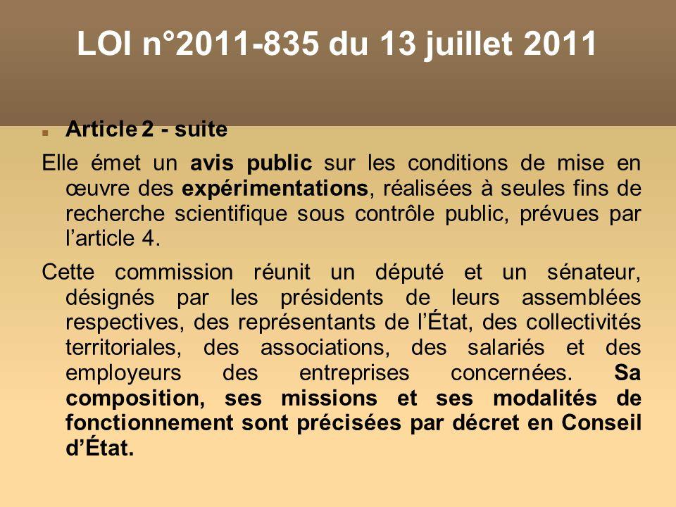 LOI n°2011-835 du 13 juillet 2011 Article 2 - suite