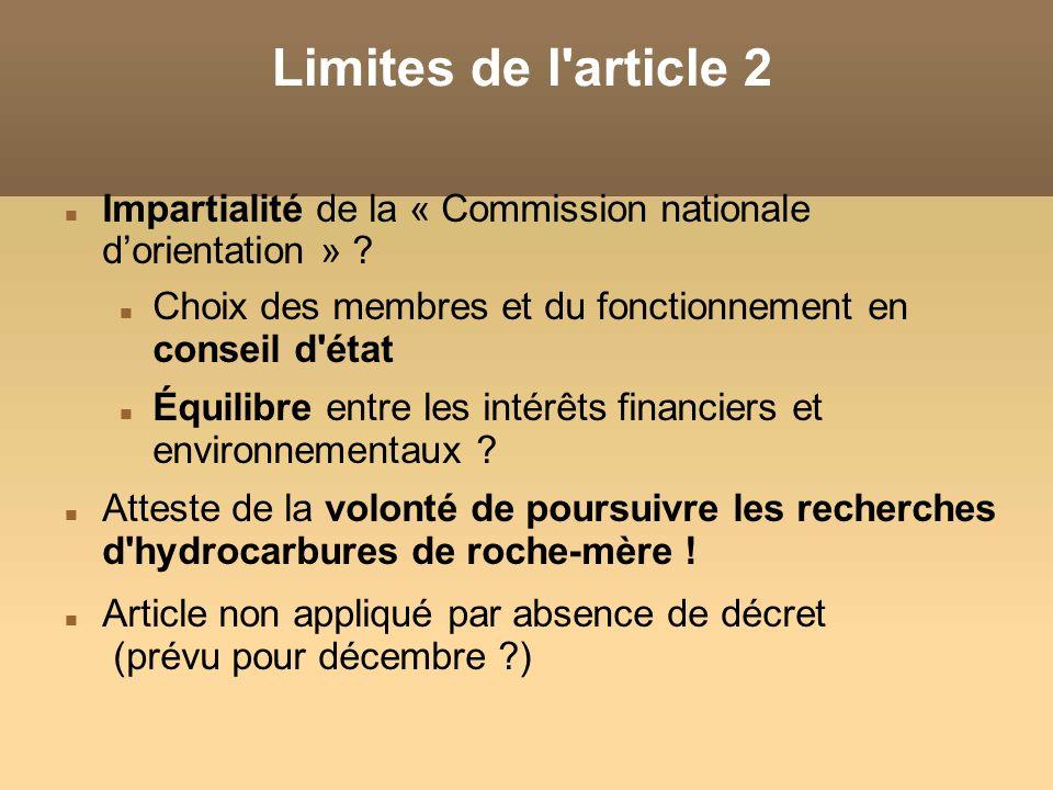 Limites de l article 2 Impartialité de la « Commission nationale d'orientation » Choix des membres et du fonctionnement en conseil d état.