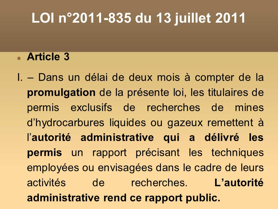 LOI n°2011-835 du 13 juillet 2011 Article 3