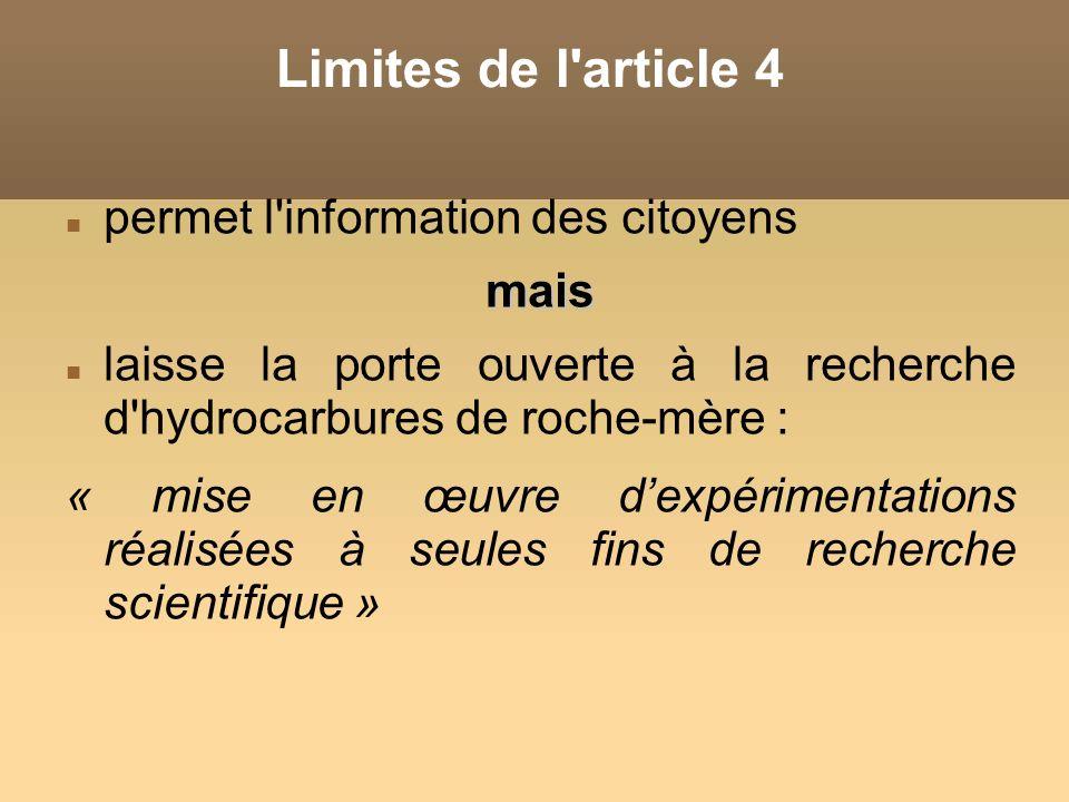 Limites de l article 4 permet l information des citoyens mais