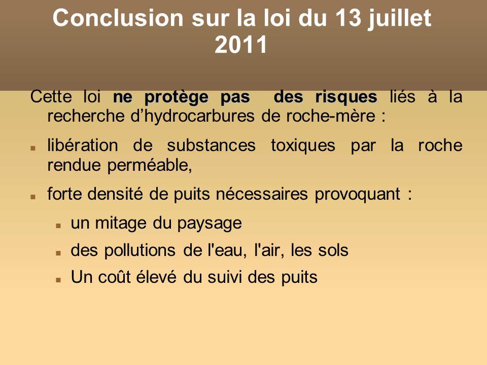 Conclusion sur la loi du 13 juillet 2011